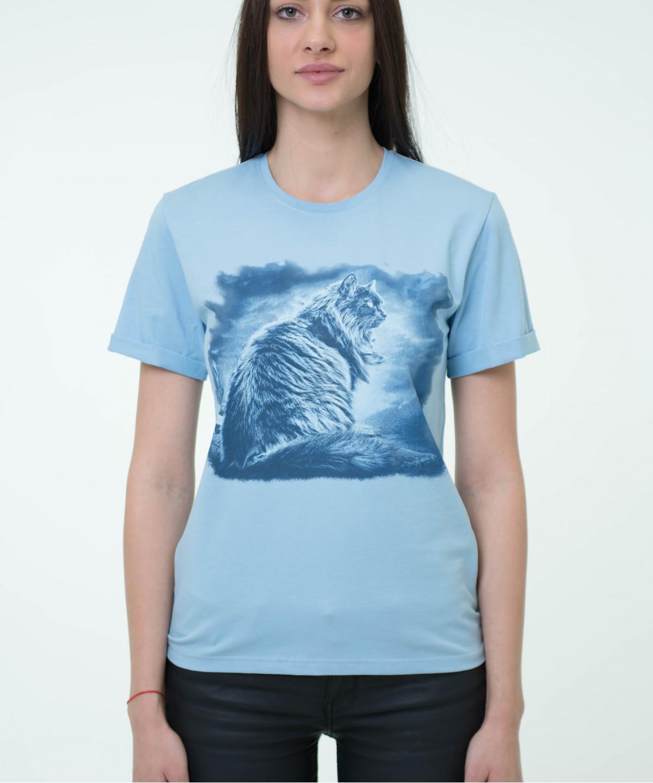 """T-shirt  """"Cat"""" blue 2"""