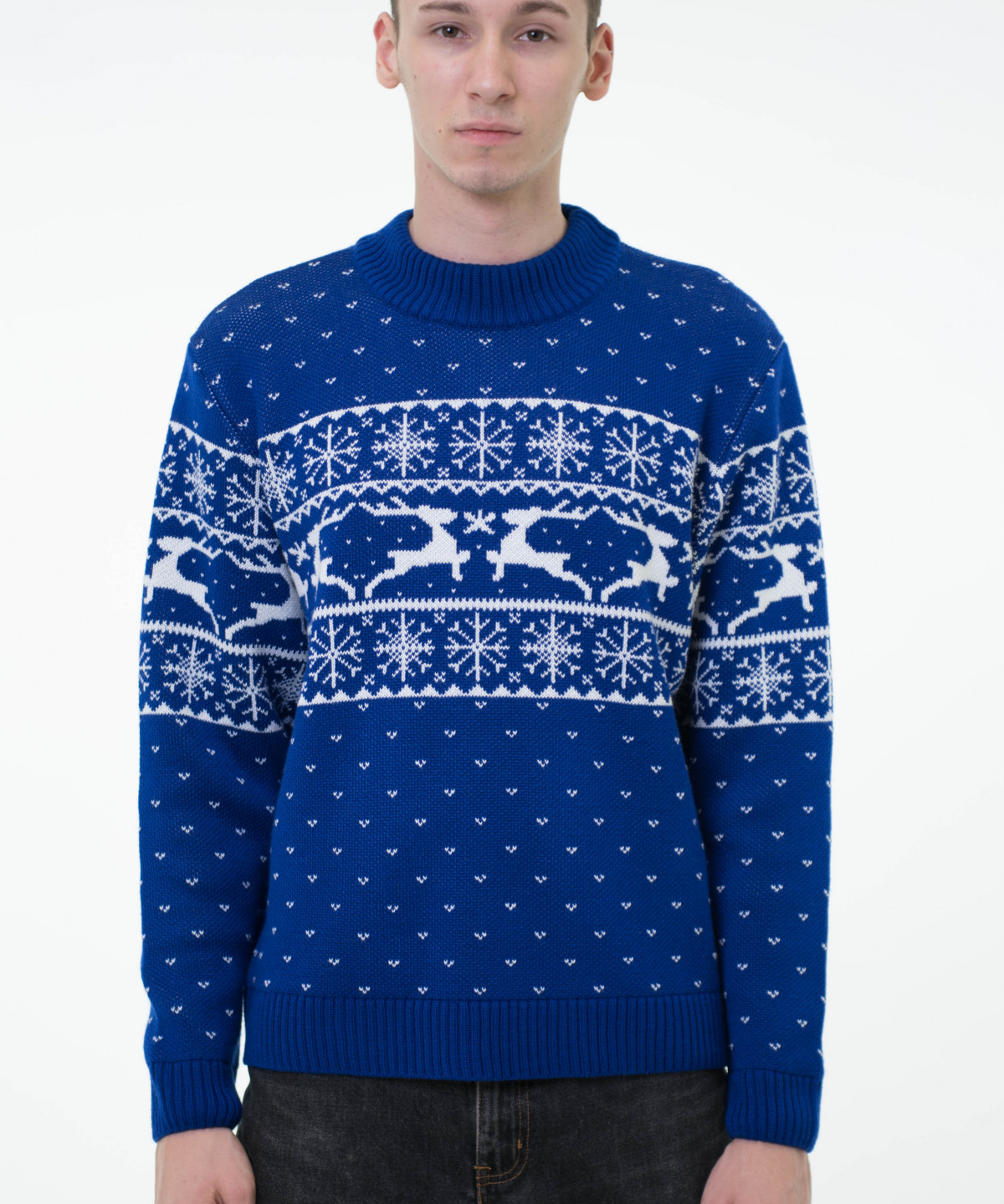 """Cornflower blue sweater with white ornament """"Deers"""""""