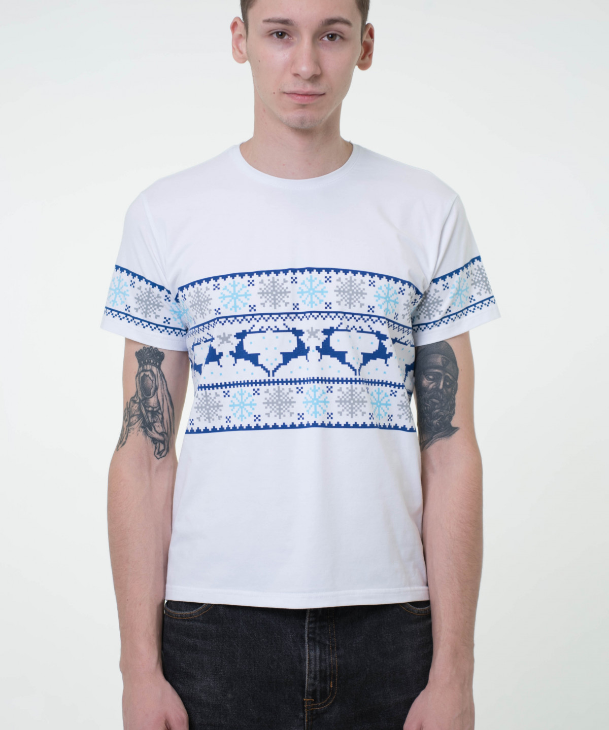 """T-shirt white with ornament """"Deers"""""""