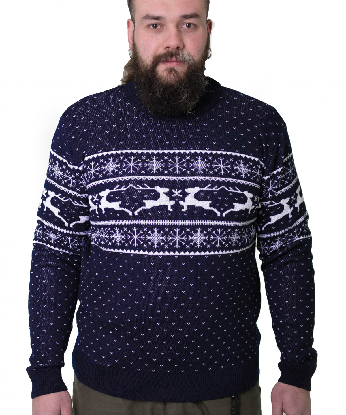 """Sweater blue with white ornament """"Deers"""""""