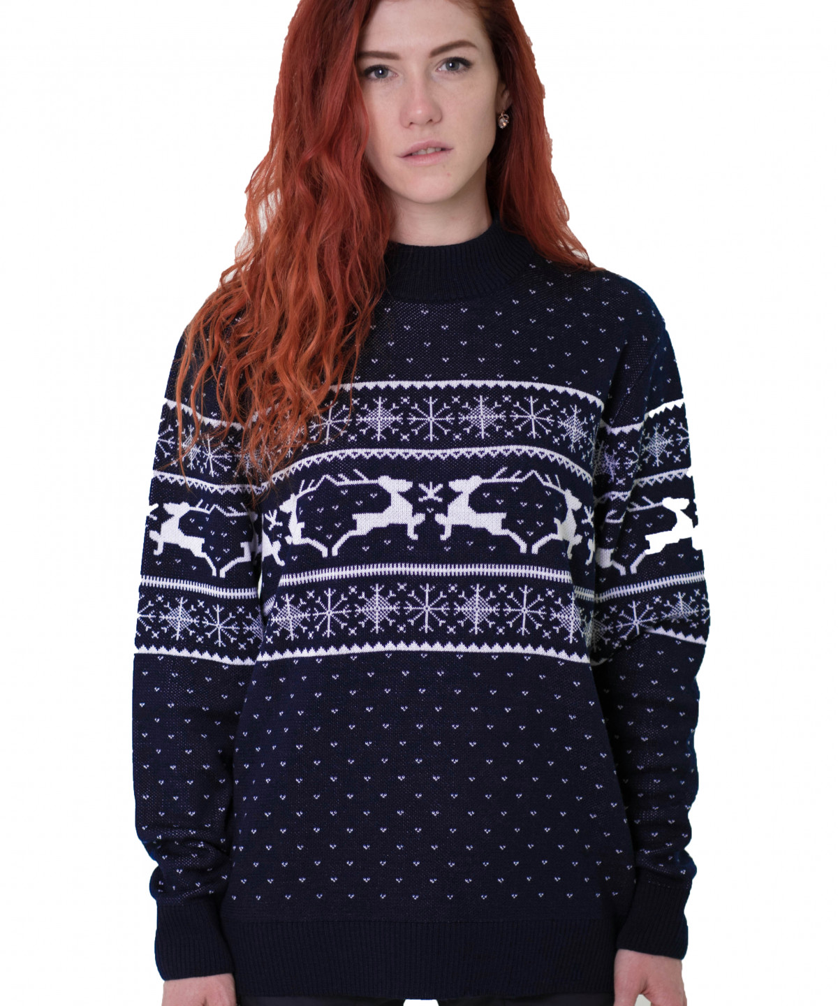 "Sweater blue with white ornament ""Deers"""