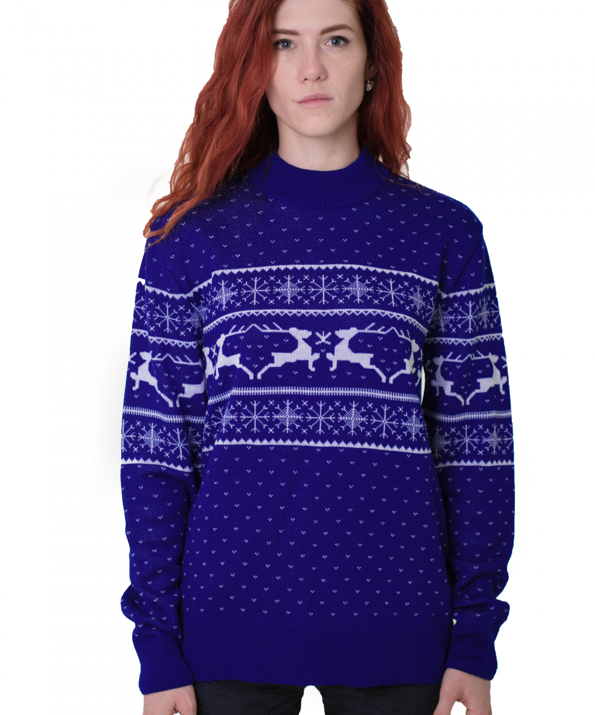 "Cornflower blue sweater with white ornament ""Deers"""