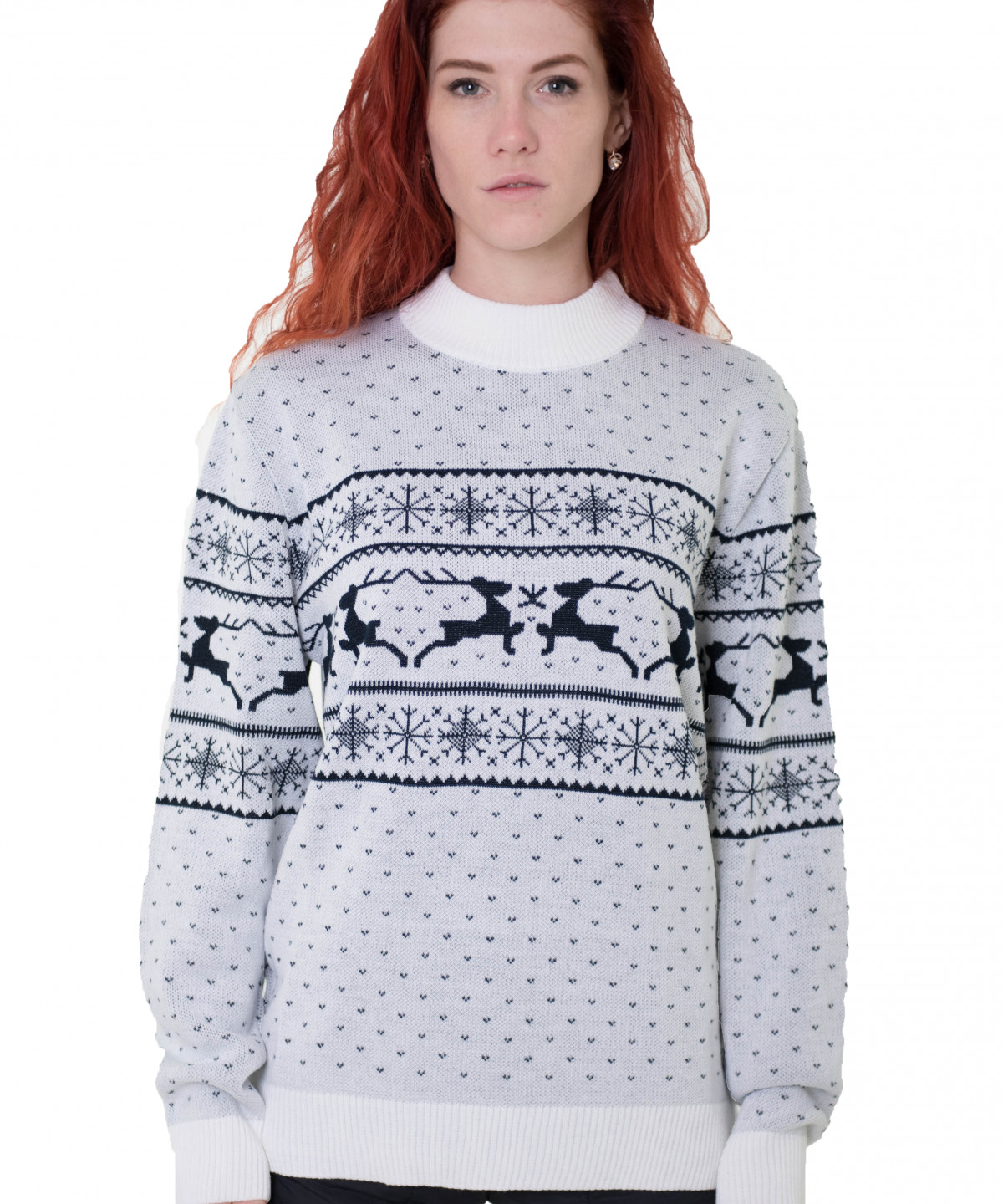 """Sweater white with blue ornament """"Deers"""""""